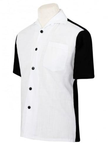 Men's Short-Sleeved Black With White Panel Shirt