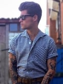 Men's Short-Sleeved Blue Gingham Shirt