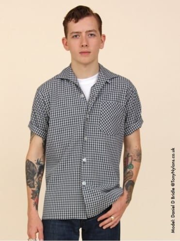 Men's Short-Sleeved Blue Grey Check Shirt