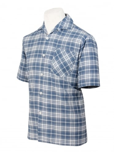 Men's Short-Sleeved Check Airforce Blue