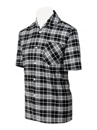 Men's Short-Sleeved Check Black