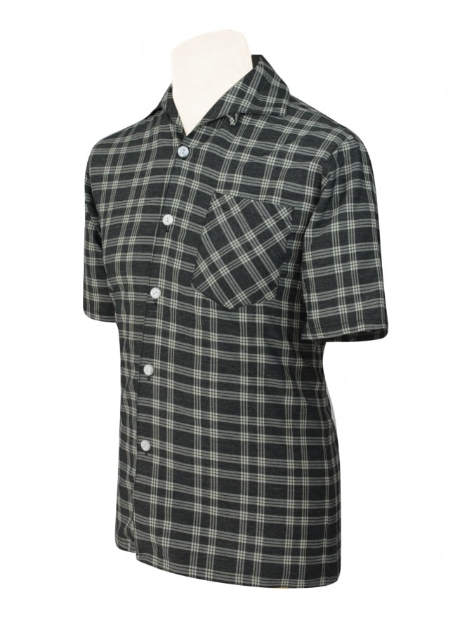 Men's Short-Sleeved Check Charcoal