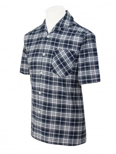 Men's Short-Sleeved Check Navy