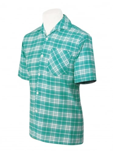 Men's Short-Sleeved Check Turquoise