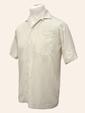 Men's Short-Sleeved Cream Stripe Shirt