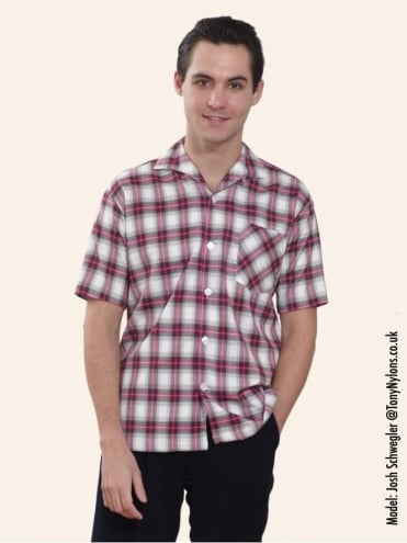 Men's Short-Sleeved Fuchsia Check Shirt