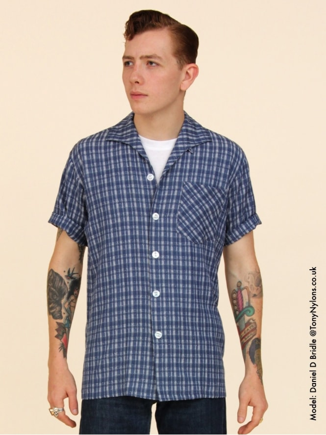 Men's Short-Sleeved Navy Check Shirt