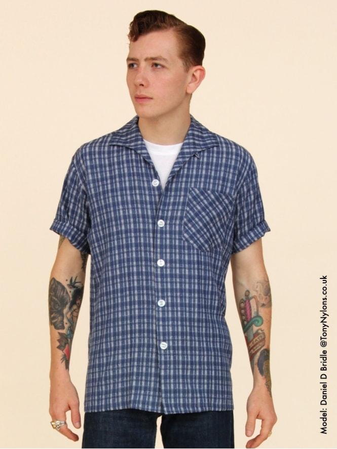 Men's Short-Sleeved Navy Check Shirt
