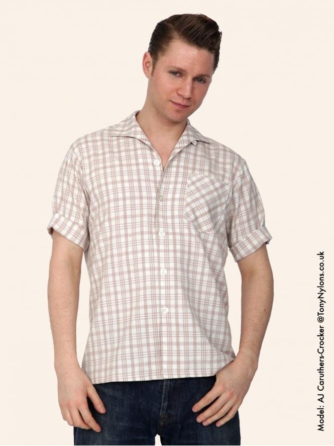 Men's Short-Sleeved Nougat Check Shirt