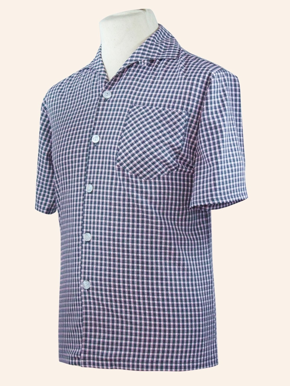 Men 39 S Short Sleeved Pink Grey Check Shirt From Vivien Of