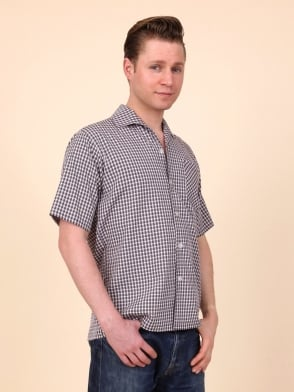 Men's Short-Sleeved Pink Grey Check Shirt