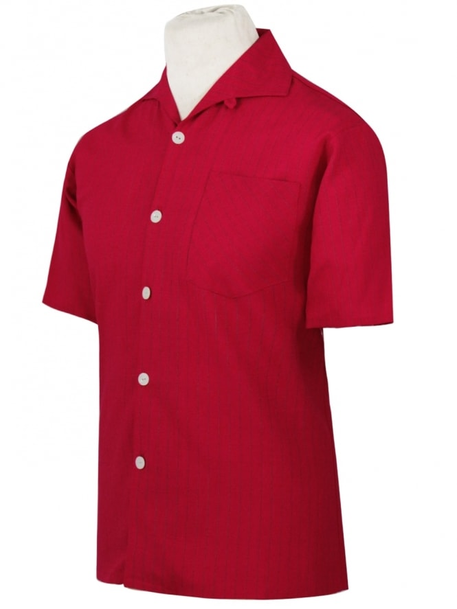 Men's Short-Sleeved Pinstripe Red Shirt