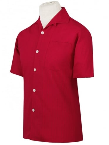 Men's Short-Sleeved Pinstripe Red Shirt