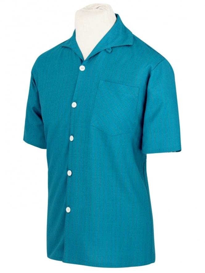 Men's Short-Sleeved Pinstripe Teal Shirt