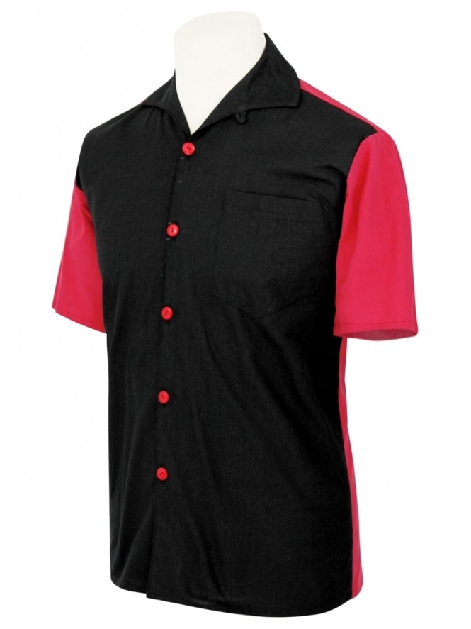 Men's Short-Sleeved Red with Black Panel Shirt