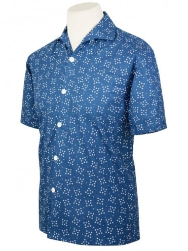 Men's Short-Sleeved Shirt Diamond Dust Indigo