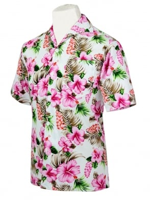 Men's Short-Sleeved Shirt Hibiscus Pink