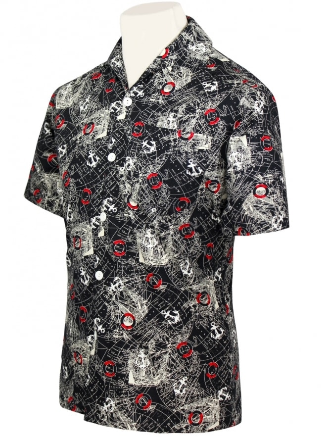 50s-1950s-Vivien-of-Holloway-Best-Vintage-Style-Reproduction-Repro-Mens-Short-Sleeved-Shirt-Map-Black-Rockabilly-Rocker-Jive