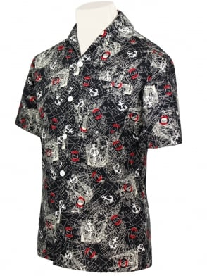 Men's Short-Sleeved Shirt Map Black