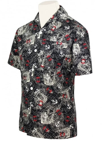 50s-1950s-Vivien-of-Holloway-Best-Vintage-Style-Reproduction-Repro-Mens-Short-Sleeved-Shirt-Map-Black-Rockabilly-Rocker-Jive