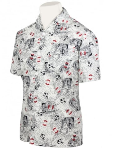 Men's Short-Sleeved Shirt Map White