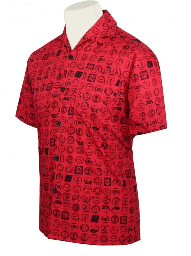 50s-1950s-Vivien-of-Holloway-Best-Vintage-Style-Reproduction-Repro-Mens-Short-Sleeved-Shirt-Postmark-Red-Rockabilly-Rocker-Jive