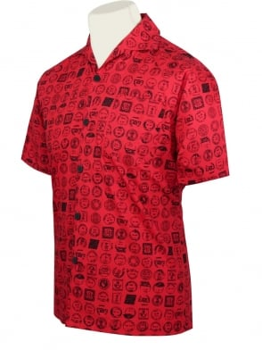 Men's Short-Sleeved Shirt Postmark Red