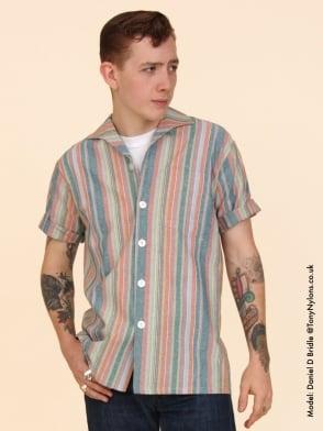 Men's Short-Sleeved Stripe Green Shirt