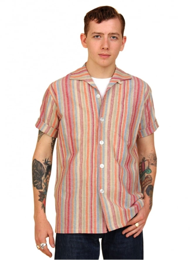 Men's Short-Sleeved Stripe Red Shirt