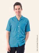 Men's Short-Sleeved Teal Pinstripe Shirt