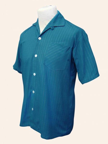 Men 39 S Short Sleeved Teal Pinstripe Shirt From Vivien Of