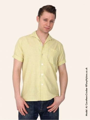 Men's Short-Sleeved Yellow Grey Check Shirt