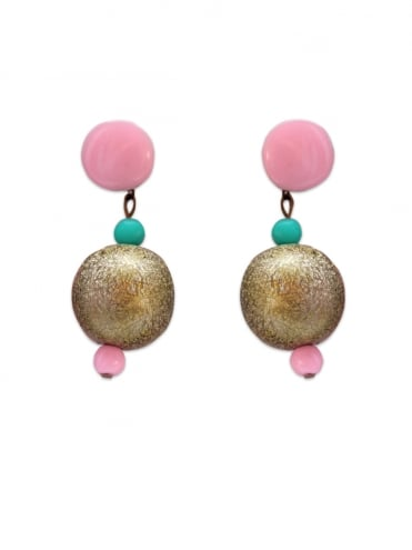 Mid Century Pink and Gold Bobble Earrings