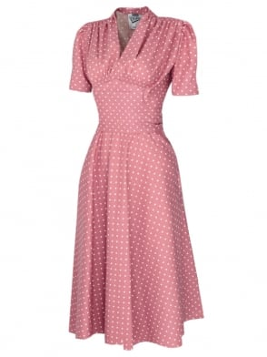 Nazare Dress Baby Pink White Dot
