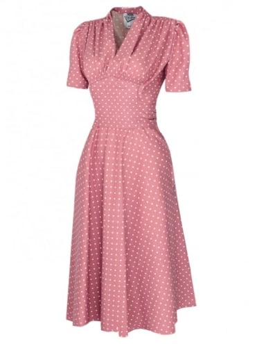 50s-1950s-Vivien-of-Holloway-Best-Vintage-Reproduction-Nazare-dress-Baby-Pink-White-Dot-Cotton-Rockabilly-Swing-Pinup