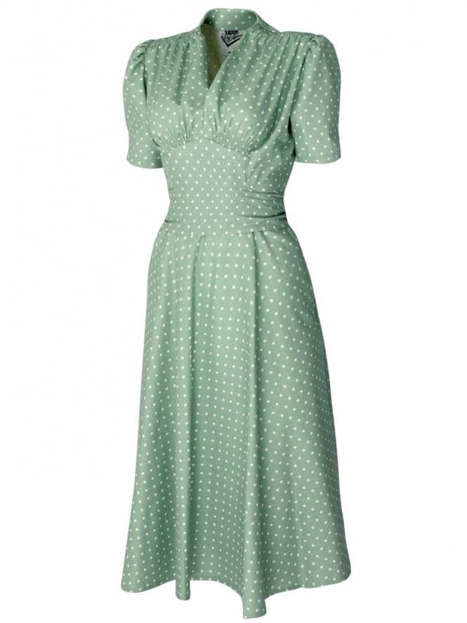 50s-1950s-Vivien-of-Holloway-Best-Vintage-Reproduction-Nazare-dress-Powder-Green-White-Dot-Cotton-Rockabilly-Swing-Pinup