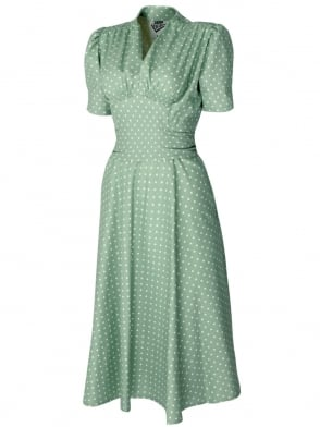 Nazare Dress Powder Green White Dot