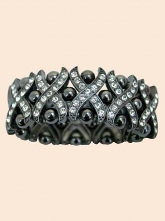 Onyx Bead Diamante Bracelet