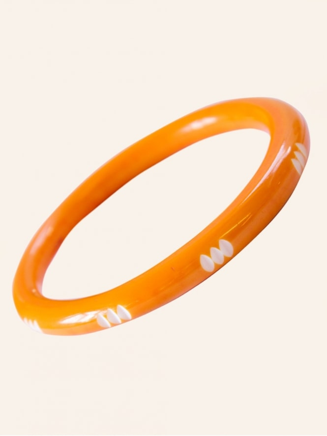 Orange Narrow Carved Bangle