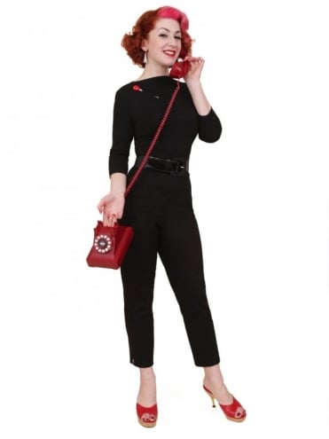 50s-1950s-Vivien-of-Holloway-Best-Vintage-Reproduction-Repro-Pedal-Pushers-Black-Swing-Pinup-Rockabilly