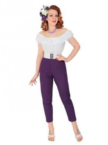 50s-1950s-Vivien-of-Holloway-Best-Vintage-Reproduction-Repro-Pedal-Pushers-Purple-Swing-Pinup-Rockabilly
