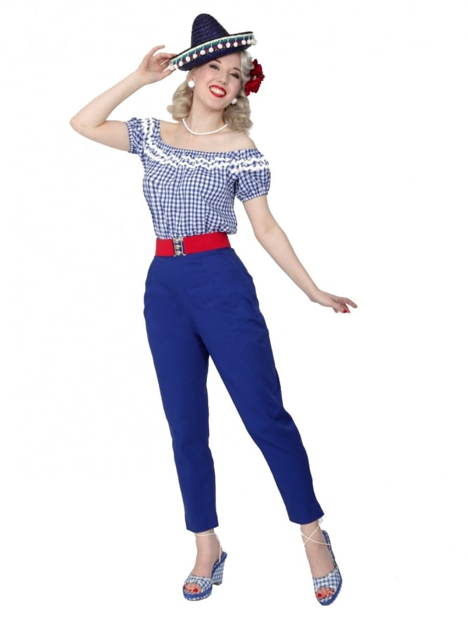 50s-1950s-Vivien-of-Holloway-Best-Vintage-Reproduction-Repro-Pedal-Pushers-Royal-Blue-Swing-Pinup-Rockabilly