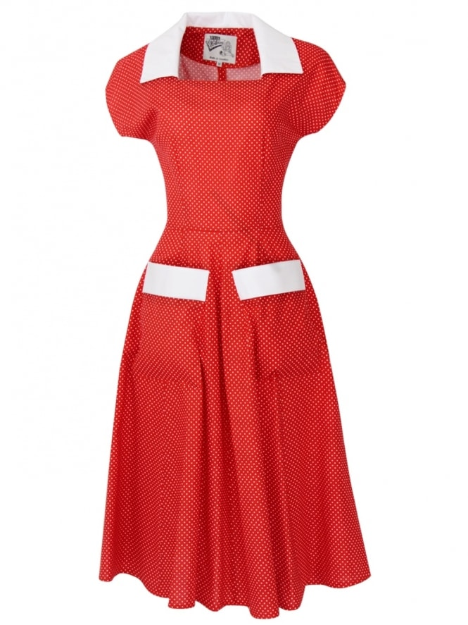 50s-1950s-Vivien-of-Holloway-Best-Vintage-Reproduction-Pegg-Lee-Dress-Burnt-Orange-Dot-Cotton-Rockabilly-Swing-Pinup