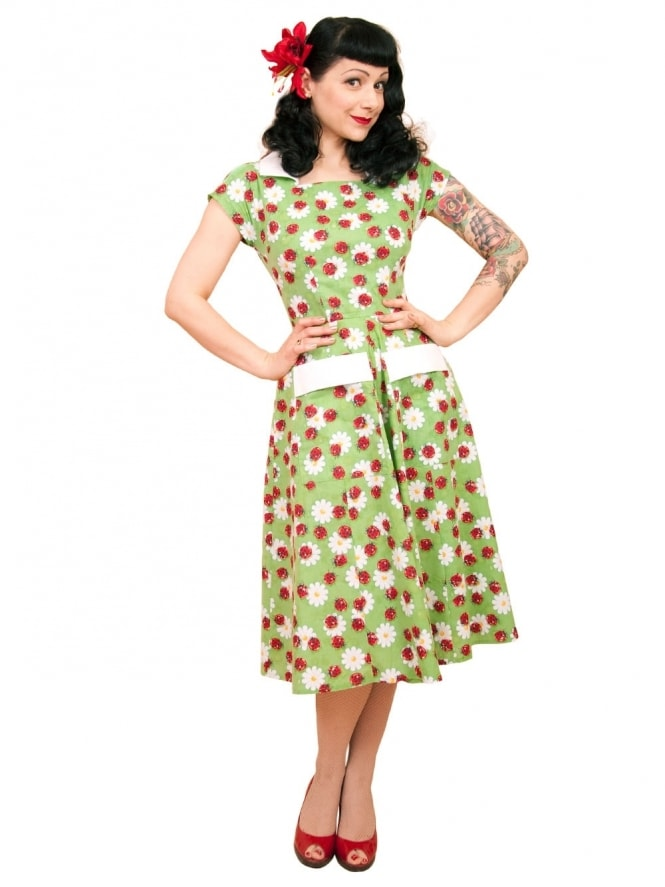 50s-1950s-Vivien-of-Holloway-Best-Vintage-Reproduction-Pegg-Lee-Dress-Ladybird-Cotton-Rockabilly-Swing-Pinup