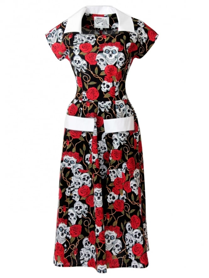 50s-1950s-Vivien-of-Holloway-Best-Vintage-Reproduction-Pegg-Lee-Dress-Rose-Skulls-Cotton-Rockabilly-Swing-Pinup