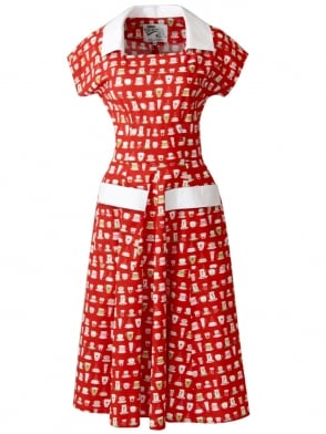Peggy Lee Dress Teacups Red