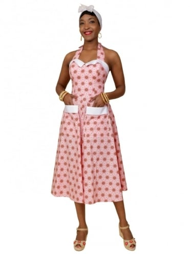 50s-1950s-Vivien-of-Holloway-Best-Vintage-Reproduction-Sundress-Anna-Pink-Spiral-Brown-Circle-Print-Rockabilly-Swing-Pinup