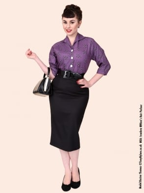 Pencil Skirt Black Cotton