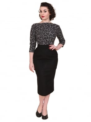 Pencil Skirt Black Flannel