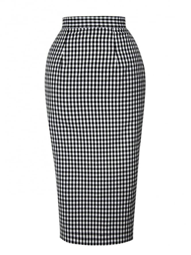 50s-1950s-Vivien-of-Holloway-Best-Vintage-Reproduction-Pencil-Skirt-Black-Gingham-Print-Rockabilly-Swing-Pinup